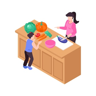 Icona isometrica con il bambino e la sua mamma che cucinano sull'illustrazione 3d del tavolo da cucina