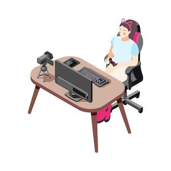 Icona isometrica con il vlogger del giocatore femminile che fa video e gioca all'illustrazione di vettore del gioco per computer 3d