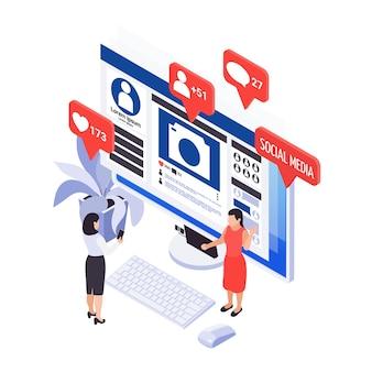 Icona isometrica con post nei social media sullo schermo del computer e personaggi che utilizzano smartphone