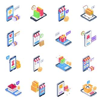 Icone isometriche di mobile shopping Vettore Premium