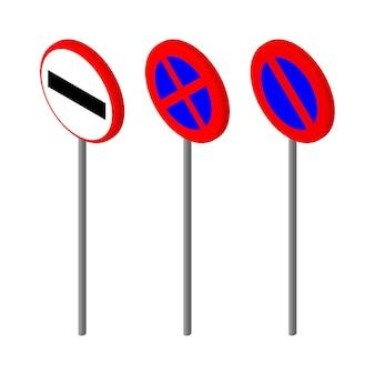 Icone isometriche vario segnale stradale. design in stile europeo e americano. illustrazione vettoriale eps 10.