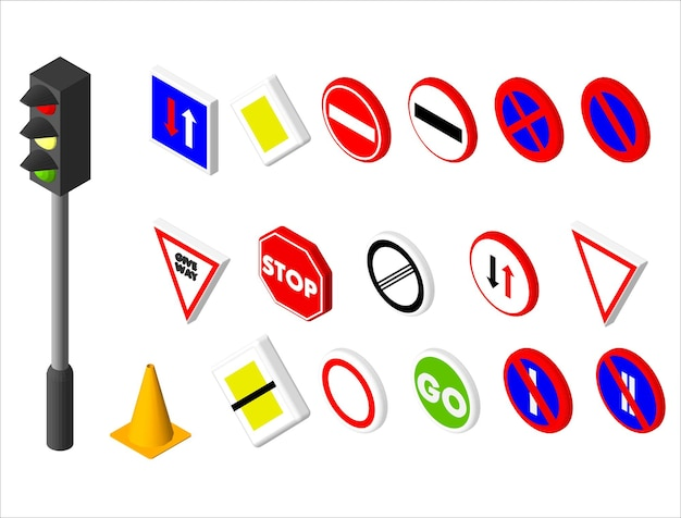 Icone isometriche vari segnali stradali e semafori. design in stile europeo e americano. illustrazione vettoriale eps 10.