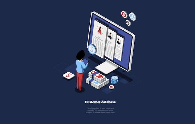 Illustrazione isometrica su blu scuro di customer database concept design