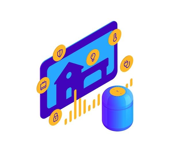 Illustrazione isometrica di altoparlante intelligente blu