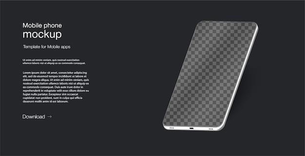 Telefono cellulare di illustrazione isometrica. schermo dello smartphone meno cornice vuota, posizione ruotata. vista prospettica dello smartphone.