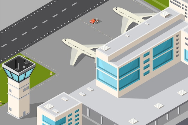 Aeroporto di città illustrazione isometrica con torre di controllo degli aerei, terminal e pista