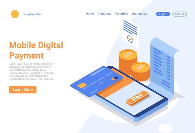 Concetto di illustrazione isometrica di app di pagamento digitale mobile