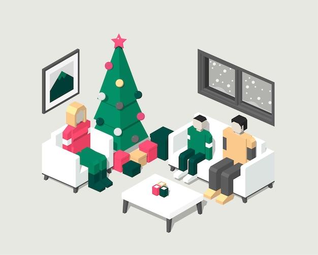 Illustrazione isometrica di una famiglia che celebra il natale in casa