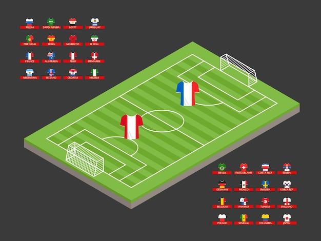 Illustrazione isometrica del campo di calcio con magliette brulicanti