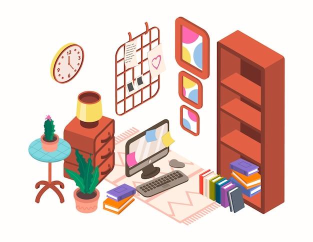 Interni di illustrazione isometrica con mobili e oggetti per la casa
