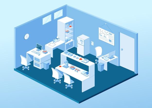 Stanza del laboratorio di illustrazione isometrica