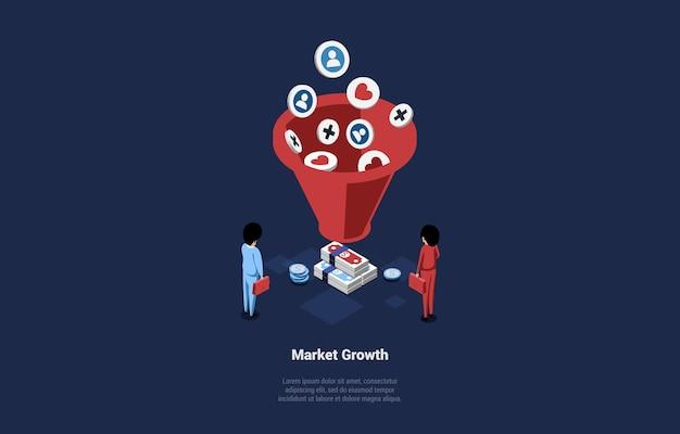Illustrazione isometrica del design del concetto di crescita del mercato