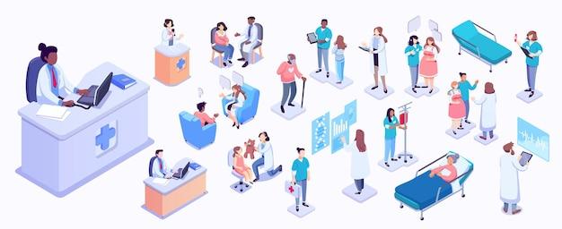 Illustrazione isometrica di operatori sanitari e pazienti ricezione di pazienti medici ospedalieri