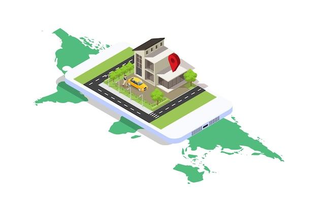 Illustrazione isometrica della navigazione mobile