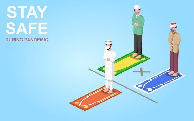 Illustrazione isometrica, uomini musulmani che pregano durante la pandemia