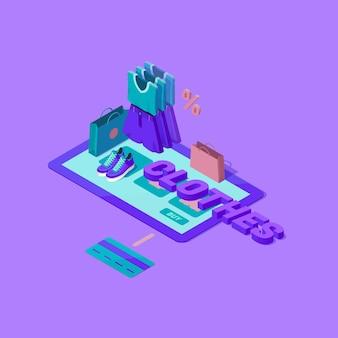 Illustrazione isometrica del processo di acquisto online