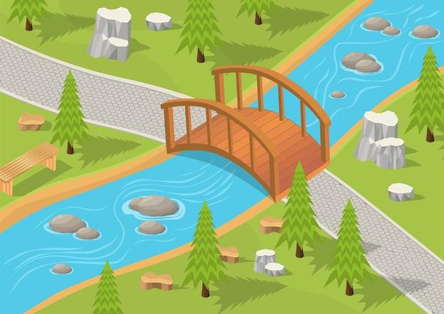 Illustrazione isometrica del parco con fiume e ponte di legno.