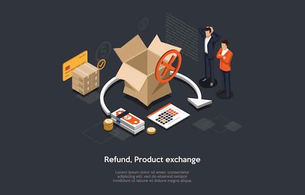 Illustrazione isometrica del rimborso o dello scambio del prodotto