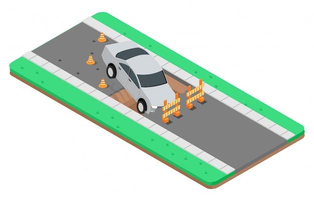 Illustrazione isometrica di incidenti stradali