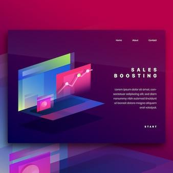 Illustrazione isometrica per aumentare le vendite