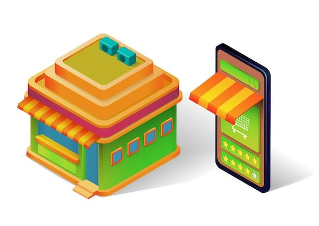 Illustrazione isometrica della costruzione del negozio e del negozio online su smartphone
