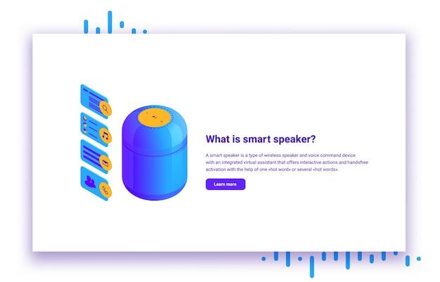 Illustrazione isometrica dell'altoparlante intelligente per il controllo dell'assistente vocale delle applicazioni mobili