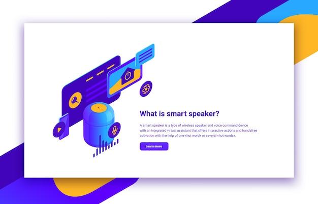 Illustrazione isometrica di altoparlante intelligente o assistente vocale digitale per siti web di controllo, applicazioni mobili e automazione domestica, infografica con testo descrittivo