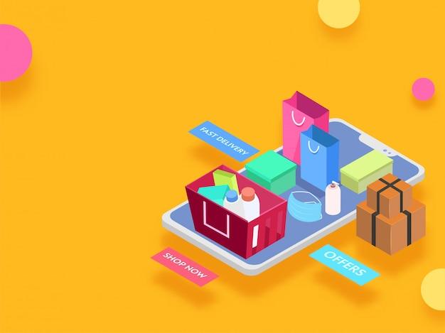 Illustrazione isometrica di smartphone con le scatole dei pacchi, la borsa per il trasporto e la merce nel carrello dell'acquisto del prodotto per il concetto online di acquisto.
