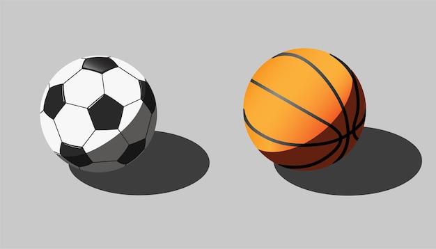 Illustrazione isometrica di palloni da calcio e basket.