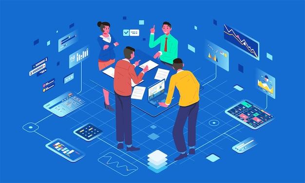 L'illustrazione isometrica del lavoro di squadra discute sulla riunione digitale