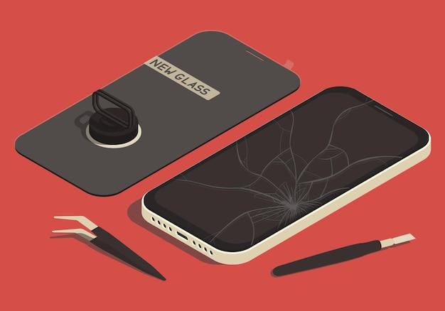 Illustrazione isometrica sul tema della riparazione dello smartphone con nuovi vetri e strumenti