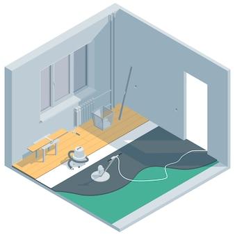 Illustrazione isometrica sul tema del rinnovamento della stanza. posa di laminato e massetto.