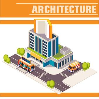 Illustrazione isometrica. strada cittadina con edifici