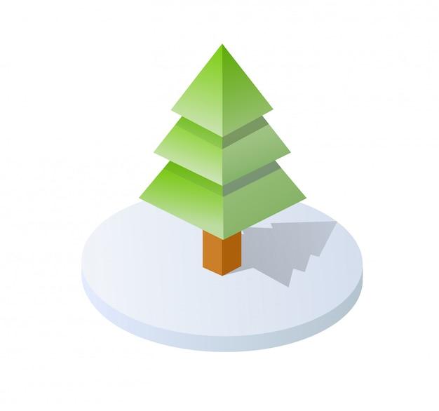 Elementi isometrici della natura della foresta dell'albero dell'illustrazione