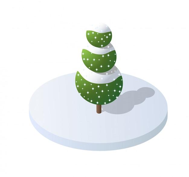 Elementi isometrici della natura della foresta dell'albero dell'illustrazione Vettore Premium