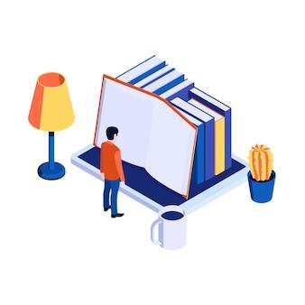 Illustrazione isometrica con carattere che legge libri elettronici su tablet 3d