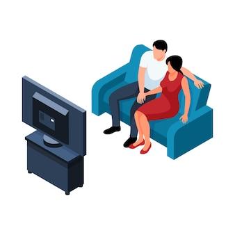 Illustrazione isometrica con coppia che guarda la tv in soggiorno 3d