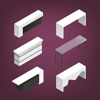 Illustrazione isometrica con dettagli per la zona espositiva di stand espositivi per la presentazione con banconi, tavoli, supporti isolati.