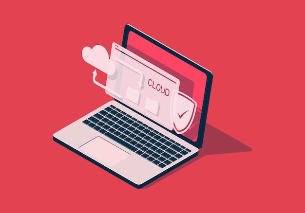Illustrazione isometrica con il computer portatile sul tema della tecnologia cloud.