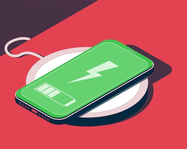 Illustrazione isometrica con smartphone e caricabatterie wireless.