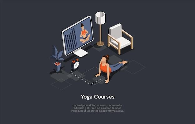 Illustrazione isometrica con scrittura e caratteri. composizione vettoriale in stile cartone animato 3d su corsi di yoga femminile, formazione online e concetto di vita attiva. sport a distanza su internet. lezione di ginnastica.