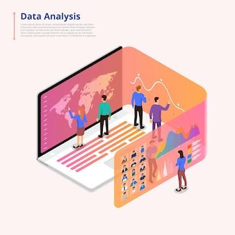 Illustrazioni isometriche concetto analisi dei dati lavoro di squadra e strumenti