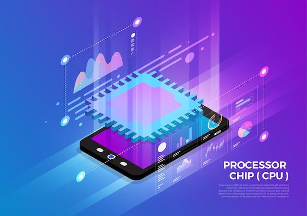 Soluzione di tecnologia mobile di concetto di design di illustrazioni isometriche in cima con chip processore cpu