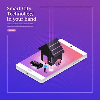 Soluzione di tecnologia mobile di concetto di design illustrazioni isometriche in cima con casa intelligente
