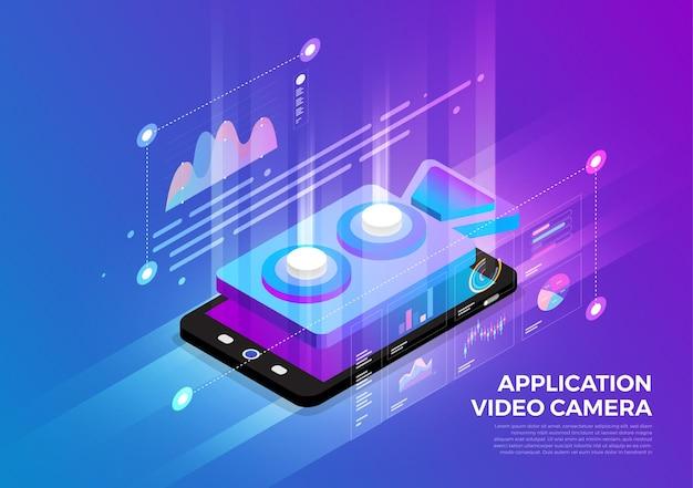 Soluzione di tecnologia mobile del concetto di design di illustrazioni isometriche in cima con l'applicazione della videocamera