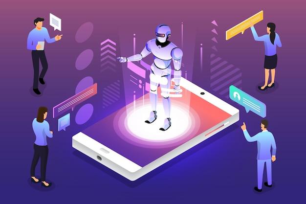 Illustrazioni isometriche design concept soluzione di tecnologia mobile in cima