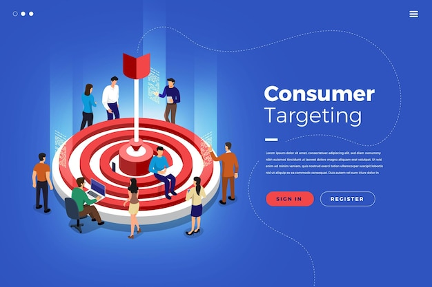 Illustrazioni isometriche concetto di design lavoro di squadra costruzione mercato targeting insieme