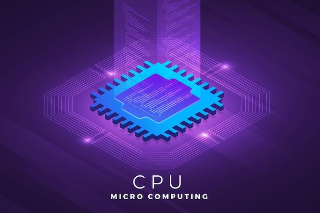 Soluzione tecnologica per il concetto di design di illustrazioni isometriche in cima al chip del processore della cpu