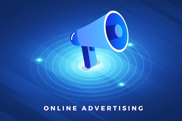 Soluzione tecnologica per il concetto di design di illustrazioni isometriche in cima alla pubblicità digitale