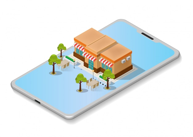 Illustrazioni isometriche shopping online